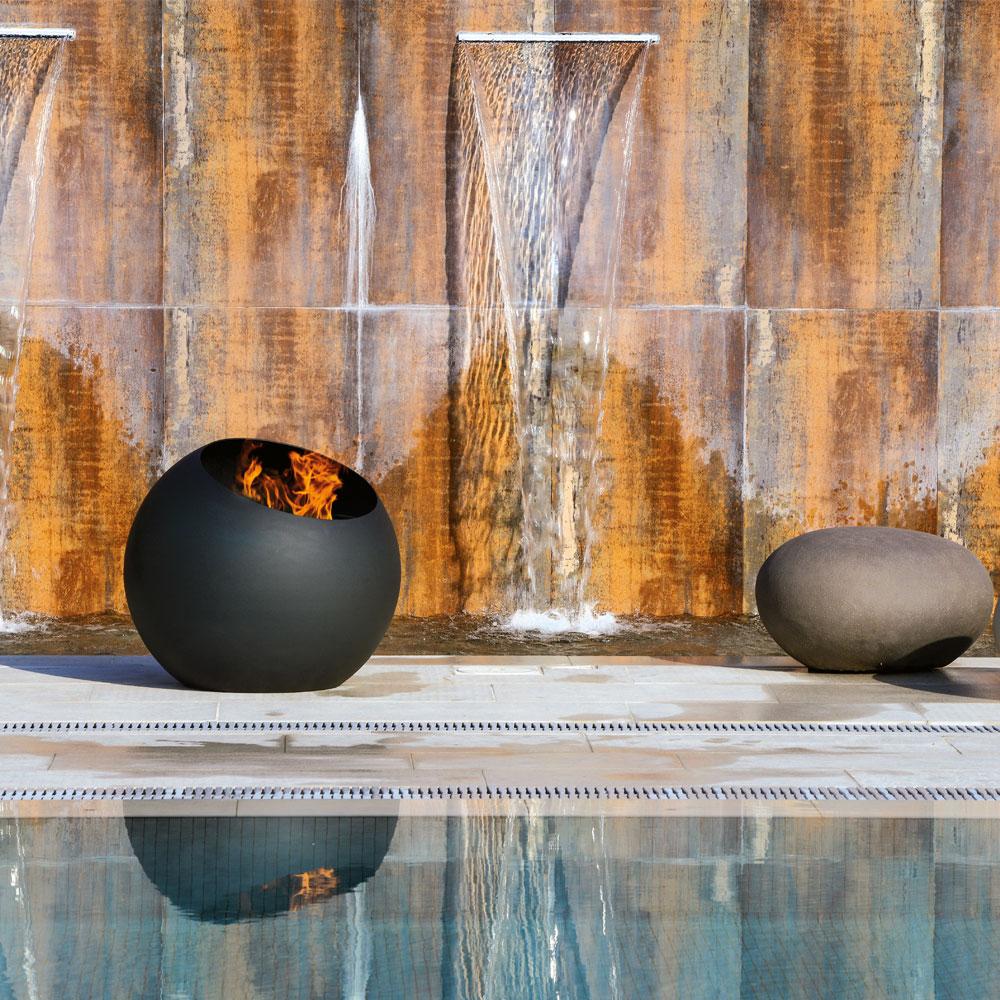 brasero, design, leña, terraza