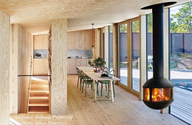 chimenea de diseno central Agorafocus 630 en Suecia